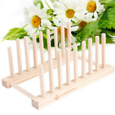 Wooden Dish Rack Kitchen Storage Drying Rack Drainer Plate Cups Stand Holder