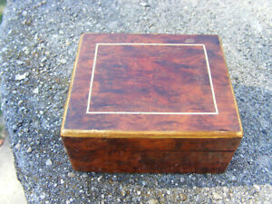 Vintage Veneered Wooden Box Hinged Lid Inlay