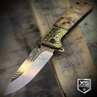 Western Ornate WOOD Handle Brass Bolster COWBOY Spring Assisted Pocket Knife