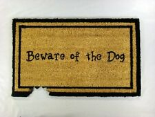 """Vinyl Backed Beware of The Dog Printed Coco Doormat 0.5"""" Thick - 18 by 30-Inch"""