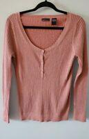 Moda International Women's Size XL Cotton Blend Metallic Ribbed Long Sleeve Top