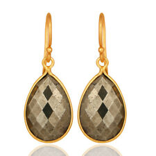 Faceted Pyrite Gemstone Dangle Earrings Silver Exclusive Fashion Jewelry