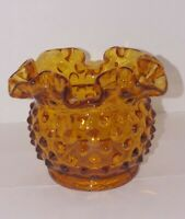 "Vintage Fenton Art Glass 3"" Amber Gold Hobnail Ruffled Open Rose Bowl Vase 1980s"