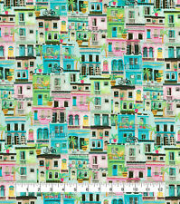 Pastel Cityscape 100% cotton fabric Fat Quarter for face masks or crafts