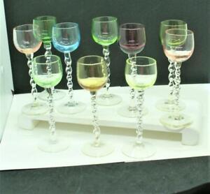10 Vintage Colored Cordial Liqueur Glasses w/ Twisted Stems