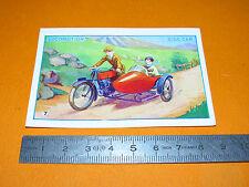 CHROMO 1930-1940 BON POINT ECOLE LOCOMOTION MOTOCYCLETTE MOTO SIDE-CAR