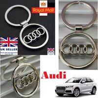 AUDI Car Logo Keychain Metal Reflective Chrome Car Keyring Key Fob Key Chain UK