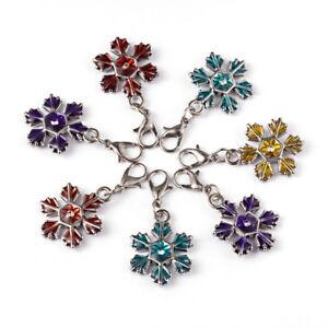 10Pcs Mixed Alloy Christmas Snowflake Enamel Brass Lobster Claw Clasps Pendants