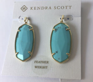 NWT Kendra Scott Elle Faceted Turquoise Blue Drop earring Gold Tone
