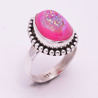925 Solid Sterling Silver Ring US Size 6, Druzy Gemstone Handmade Jewelry CR974