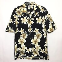 Pacific Legend Mens Large Black Floral Short Sleeve Hawaiian Button Front Shirt