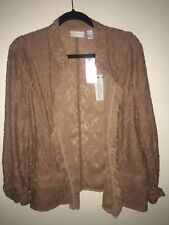 Chicos Lady Lovely Lace Copper Brown Jacket Topper 3 Large L Classy