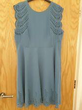 Hobbs Laser-cut Blue Dita Dress Size 16 BNWT