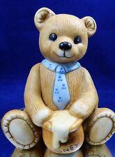 Vintage Ceramic Teddy Bear Figurine With Tie & Honey Pot Homco Foil Sticker