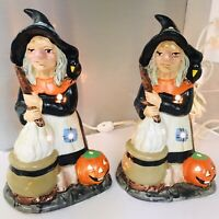 """Vtg Ceramic 2 Witch Halloween Lamp Lights-up Spooky 60s 70s Witches Brew 9.5"""""""