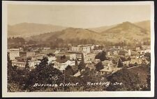 Business District - Roseburg, OR, Real Photo Postcard (RPPC), AZO 1918-1930