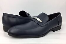 Calvin Klein Men Lathan Smooth Calf Leather Loafer Slip On Shoes Blue Size 10