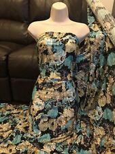 """1 X Meter stripy floral four way strech silk touch Lycra dress fabric 60"""" wide"""