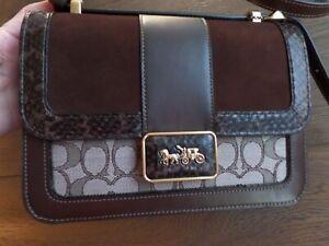 New COACH Alie shoulder/ crossbody calf leather signature jacquard, suede bag