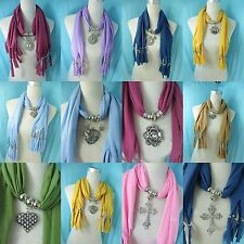 *US Seller* 5 jewelry scarves wholesale lot bulk sale pendant necklace scarf