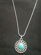 Turquoise Sun Necklace Pendant on Sterling Silver Chain