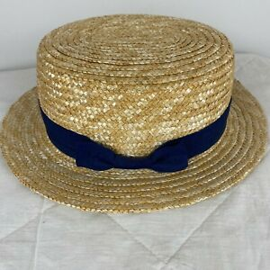 Sportsgirl Womens Beige Straw Boater Summer Sun Hat S3