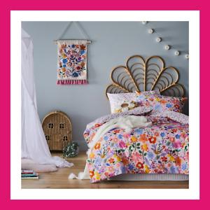 BLOOM FLOWERS pink cotton DOUBLE bed Quilt Doona Duvet Cover set new ADAIRS