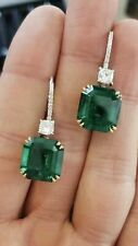 4Ct Asscher Cut Green Emerald Diamond Drop/Dangle Earrings 14K Yellow Gold Over