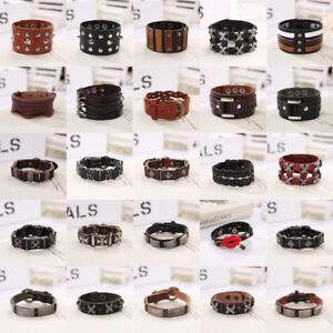 Punk Mens Women Wide Genuine Leather Bracelet Bangle Wristband Cuff Wrap Jewelry