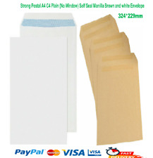 More details for strong postal a4 c4 plain (no window) self seal manilla brown and white envelope