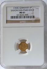 1765C Germany Saxony Gold Pfennig KM 980.  NGC MS61.  Scarce gold pattern.