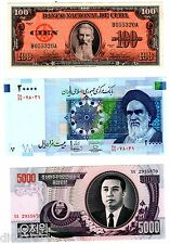 LOT 3 Billets DIFFERENTS PAYS 100 pesos 1959 / 20000 RIALS / 5000 WON NEUF UNC