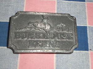 ss2.  Belt Buckle  Bunkhouse Beans Cowboy Bucking Bronco  Note Surface Wear