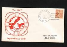 WWII VJ Day 4Yrs Anniv 1948 Patriotic Navy USS Tappahannock Oiler Ship Prexie X