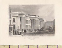 c1840 VICTORIAN PRINT ~ LONDON ~ THE NEW POST OFFICE ~ St MARTINS-le-GRAND