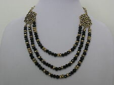 Lucky Brand Gold Tone Black Bead 3-Row Necklace