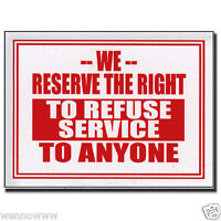 "2 Pcs 9 x 12 Inch Red & White Flexible Plastic "" To Refuse Service "" Sign"