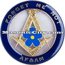 Z-14 Masonic Forget Me Not Auto Emblem FreeMasonry Car Lodge Mason PHA