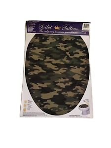 Elongated Toilet Seat Tattoo Camouflage Hunter Print Applique Decal Cling 12x15