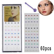 Piercings Bone Stud Ring JewelryWcp 60Pcs/Set Stainless Steel Nose Rings Body