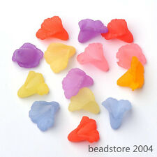 50PC Mixed Color Dyed Frosted Lily Lucite Trumpet Flower Acrylic Beads 16x15x2mm
