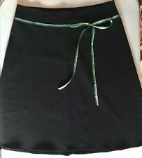 Black Knee Length Skirt Green Ribbon at Waist with Stretch by Speechless Size 11
