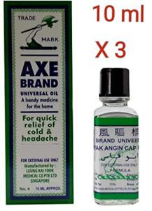 3 X Singapore Axe Brand Universal Oil Relief Headache Muscular Pain 10ml #星加坡斧標