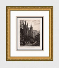 """AXEL HAIG 1800s Antique Print """"Winter, Peterborough Cathedral"""" SIGNED Framed COA"""