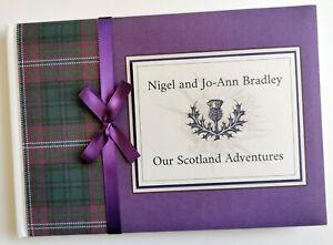 Scottish Scotland Forever Tartan personalised wedding guest book, album, gift