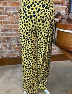 IMAN Global Chic Yellow Cheetah Average Palazzo Pant New Travel Luxury Resort