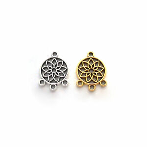 20 x Silver/Gold Tone Dream Catcher Connector Charms Pendants Beads 19x14mm