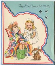 VINTAGE NURSE MEDICINE DOG TRUNDLE HOOP CLOWN HOUSE FLOWERS GET WELL CARD PRINT