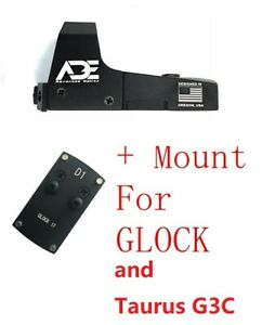 Ade RD3-006B GREEN Dot Sight+OPTIC PLATE for ALL GLOCK and TAURUS GX4/G3C pistol