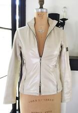 BELSTAFF WOMENS LEATHER Pearlized White Motorcycle Jacket Sz 40 US 6